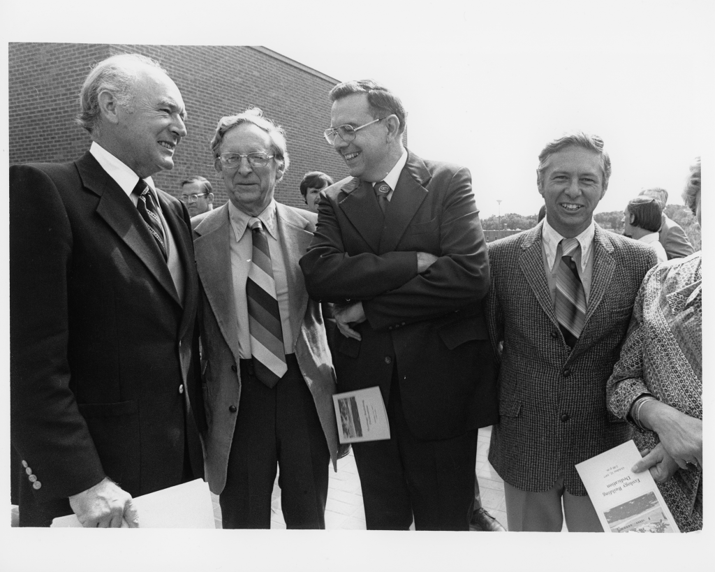 Interior Secretary Cecil Andres, Eugene Odum, UGA President Fred Davison and Frank Golley.